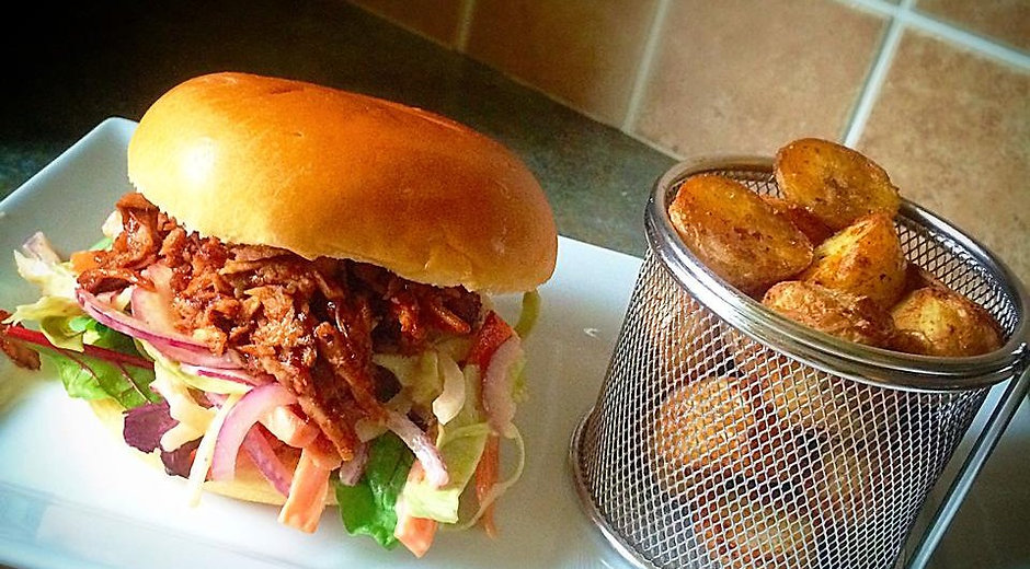 Pulled Pork with a Spicy Coleslaw Burger