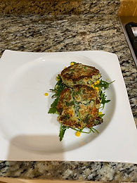 Crab Cakes with Rocket & Chilli Dressing