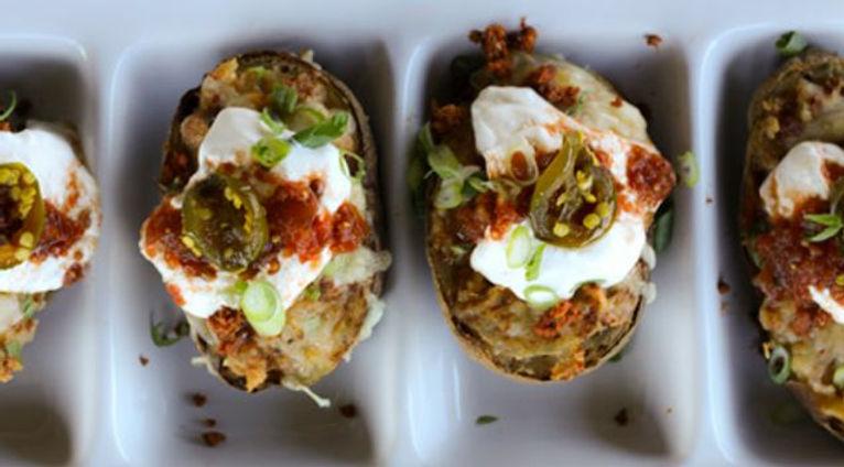 Chorizo Baked Potatoes with Avocado Crea