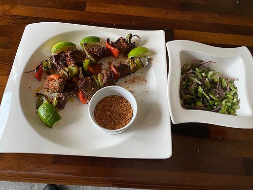 Beef Suya with Bok Choi Salad