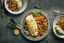 Roast Cod with Caponata