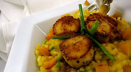 Butternut Squash Risotto with Zingy Scallops