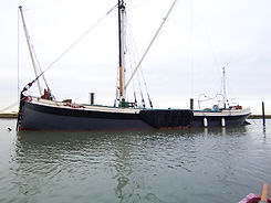 Thames sailing barge with bowsprit and spreet