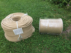 A coil of 12mm rope and a reel of smaller stuff