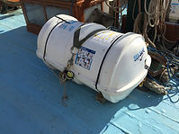 Liferaft in its container
