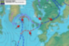 Isobars on a synoptic chart