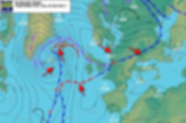 Low pressure SE of Greenland,  high pressure over the British Isles