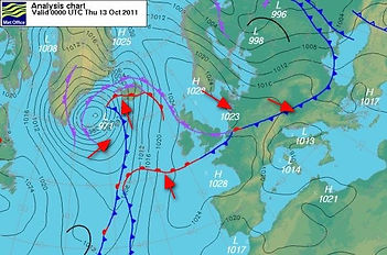A synoptic chart showing two occluded fronts