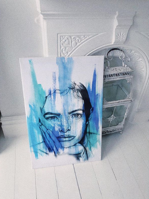 "Eyes of Blue - 30x20"" Print on Canvas"