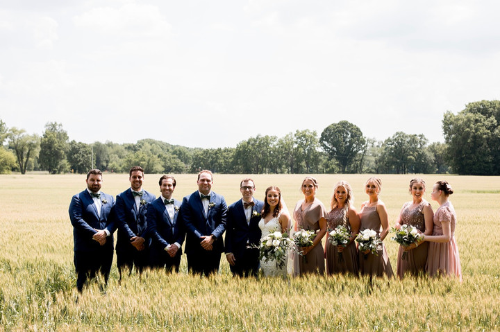 Bridal-party-hay-field