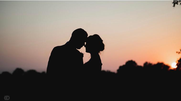 bride-groom-sunset-blue-heron-barn