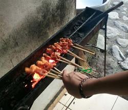cooking pork sate