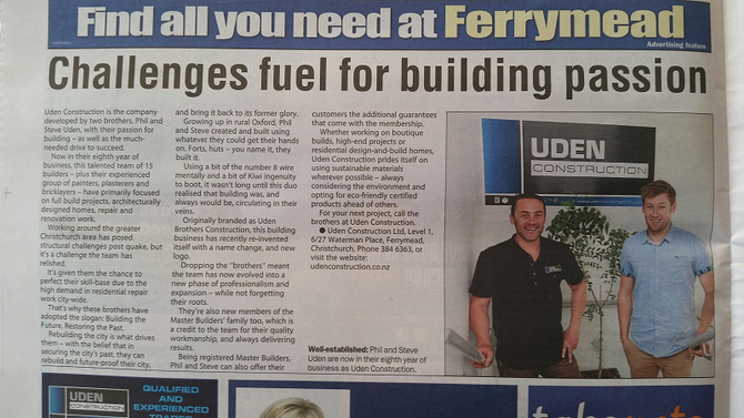 Uden Construction featured in the Christchurch Mail