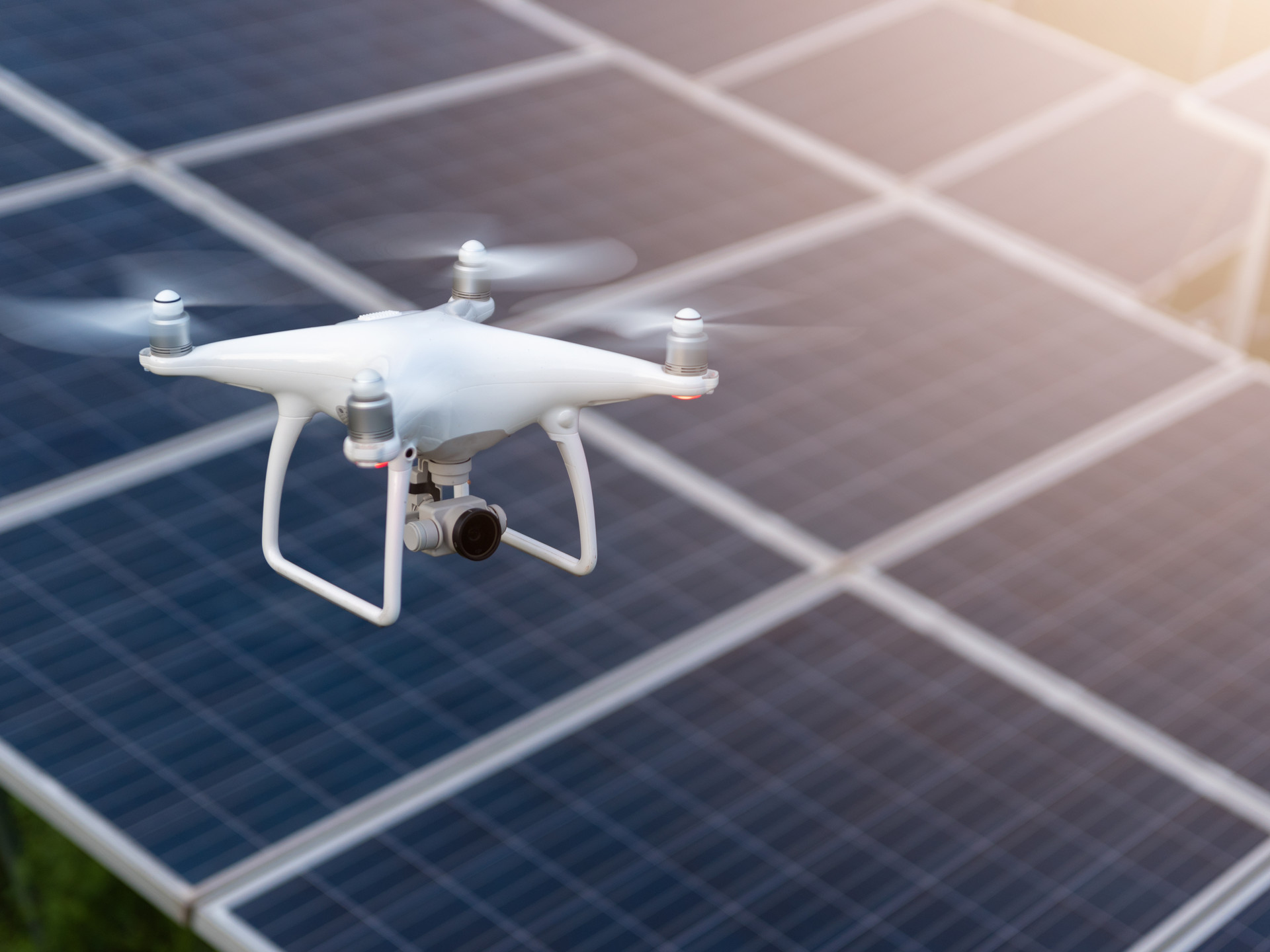Drone surveying and collecting aerial data for solar farm