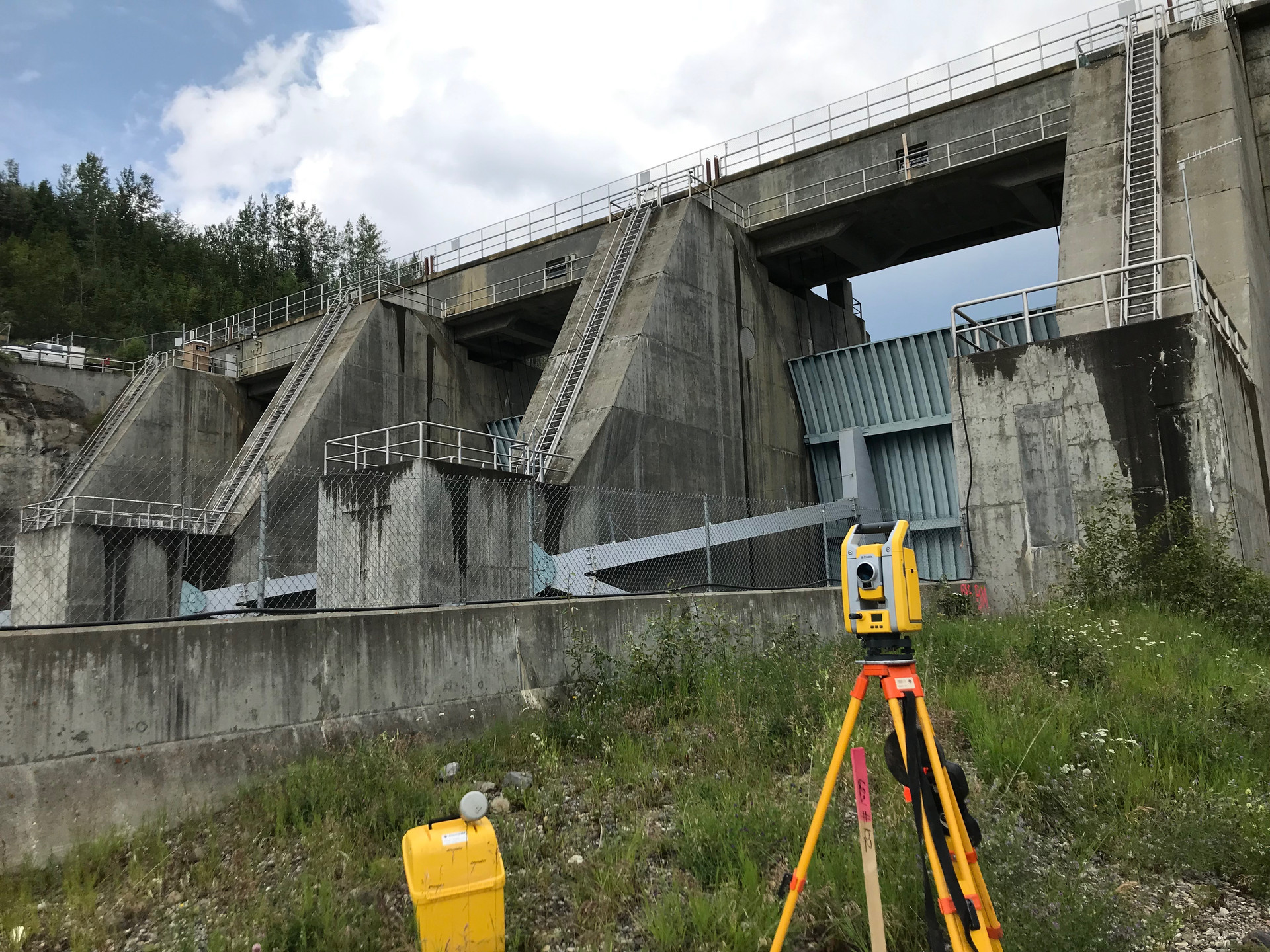 Surveying dam construction