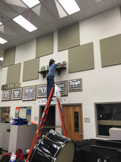 Band Parents do it all...even climb the dreaded ladder to clean