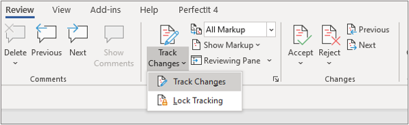 A close up of the Review ribbon in Microsoft Word with the dropdown menu open below the Track Changes button.