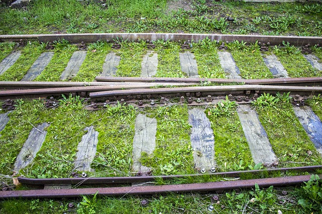 Train tracks running side by side, but having a place where they connect