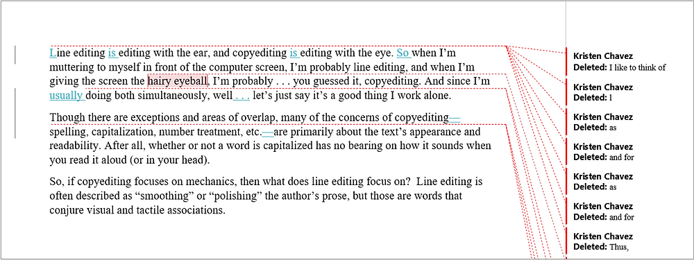 A view of a manuscript in All Markup in Microsoft Word. All insertions are in blue, and the deletions are pulled out the right-hand side. There is a gray vertical bar in the left margin.