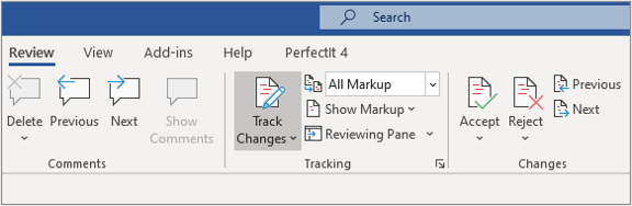 A close up of he review ribbon in Microsoft Word, with the Track Changes button highlighted.