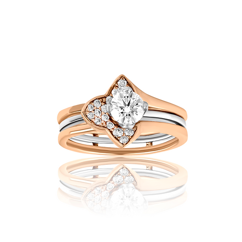 Half Petal Dual Tone Detachable Ring