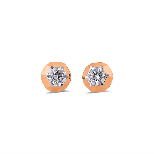 High-Polished Single Soliatire Stud Earrings