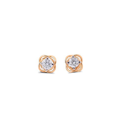 Twisting Bright Solitaire Stud Earrings