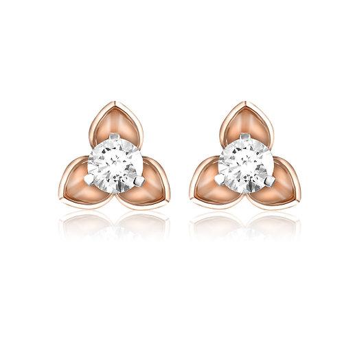 Golden Petals Solitaire Earrings