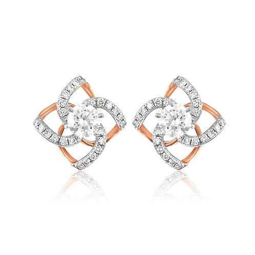 Geometrical Shimmer Diamond Stud Earrings