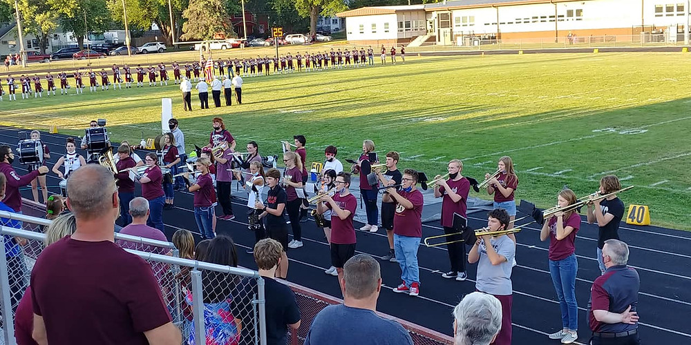 The SHS Marching Band performs the National Anthem before that first home football game.
