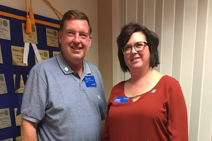 Pat and Julie O'Hara, in 2018, while on a Rotary Club visit in Wayne, Neb. (Photo by the Wayne Rotary Club.