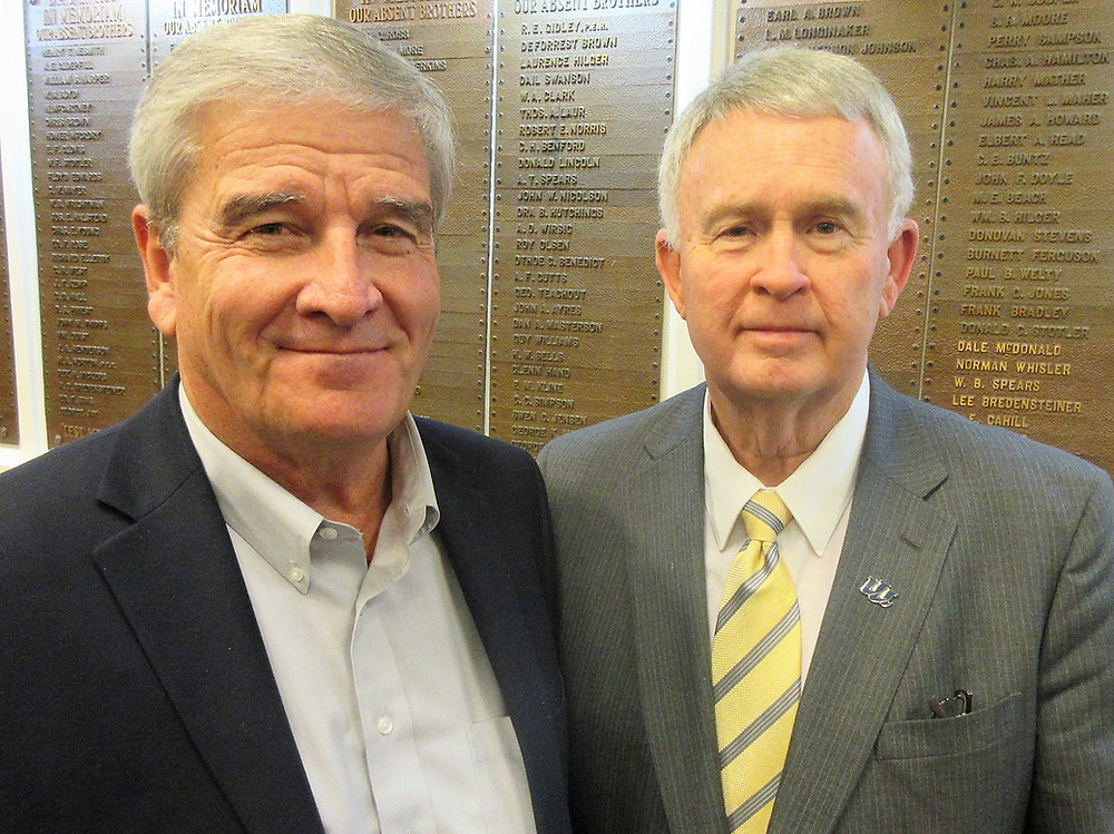 Featured speaker Dan Kinney (right), president of Iowa Western Community College, was welcomed to Shenandoah by one of the college's board members Gregg Connell, executive of the Shenandoah Chamber & Industry Association.