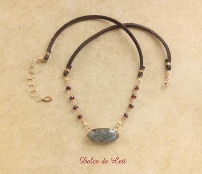 labradorite pendant, garnet, suede, gold fill