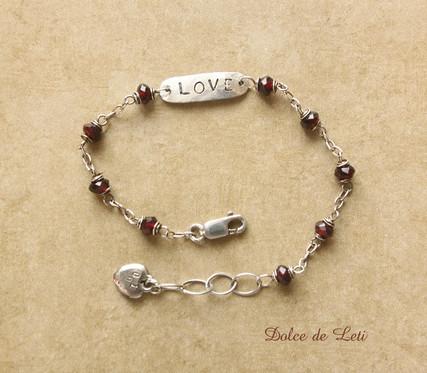 garnet, silver LOVE tag