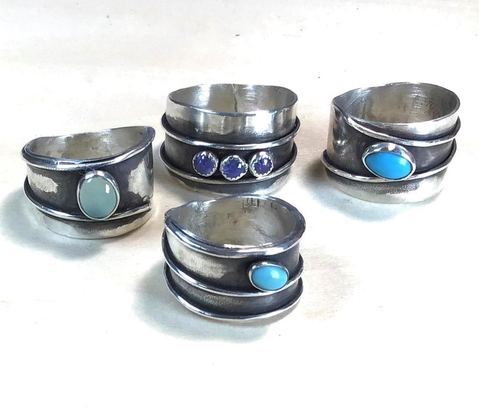Fusion Rings with Turquoise and  Tanzani