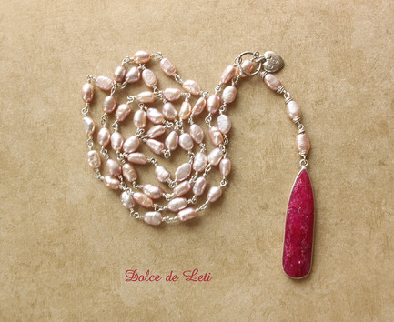 Ruby Y necklace with pearls, silver