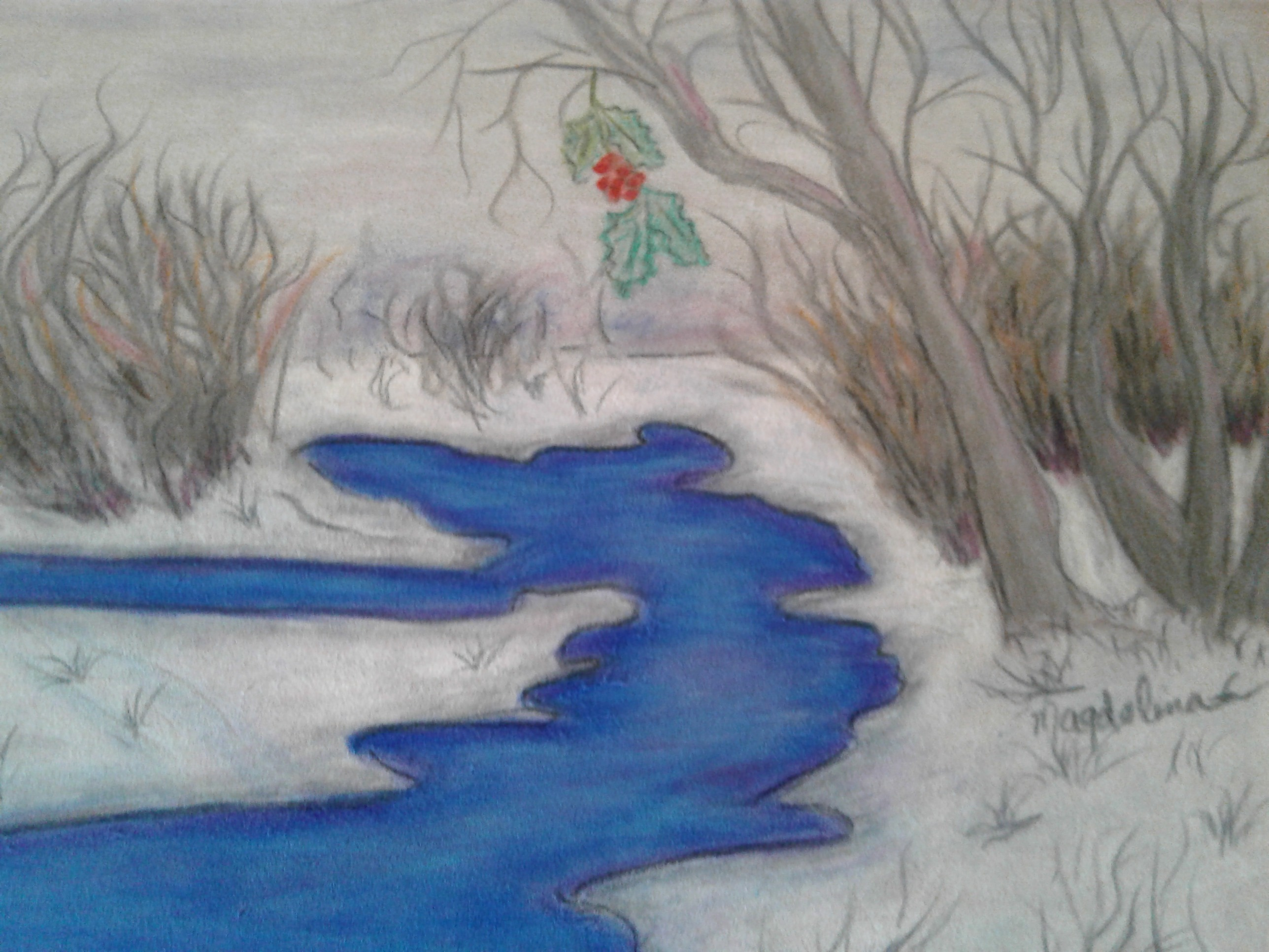 Winter Stream Pastel
