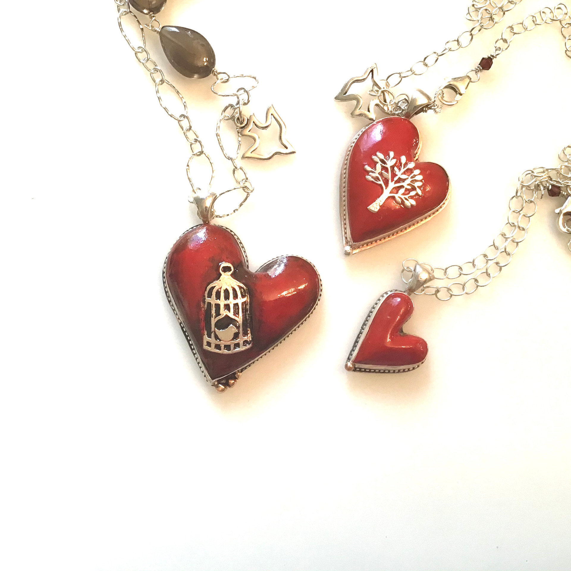 Poly Clay and Silver Heart Necklaces