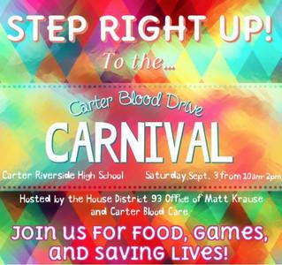 Carter Blood Drive Carnival with Representative Matt Krause, September 3rd