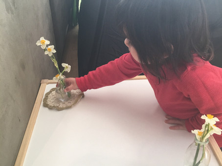 Flower arranging with toddlers