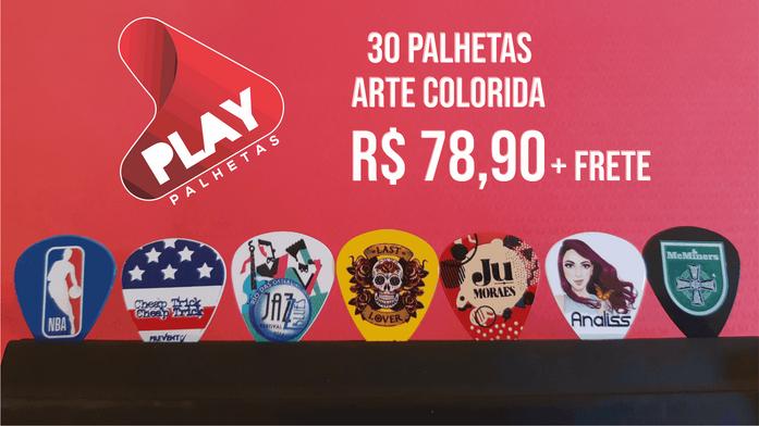 30 PALHETAS PERSONALIZADAS ARTE COLORIDA