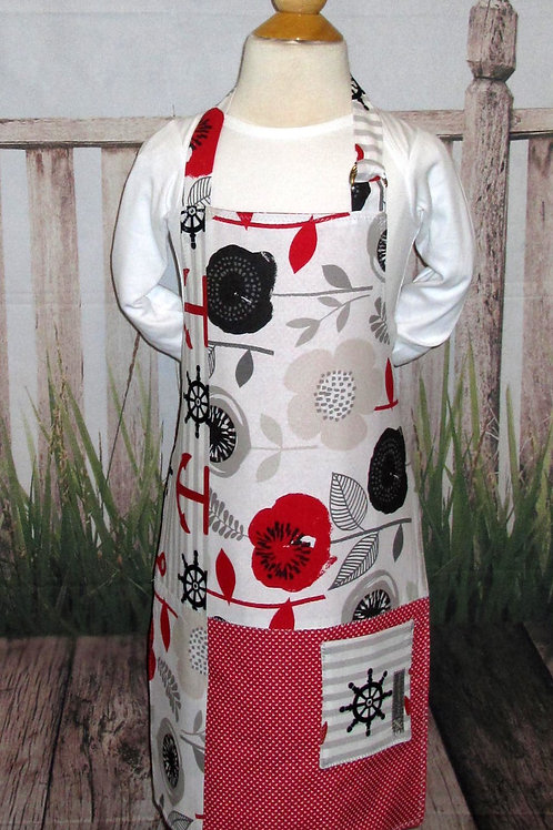 Red & Black Flowered Reversible Kids Bib Apron w/Neck Strap
