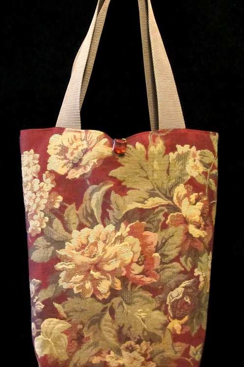 Red & Green Floral Tapestry Bag