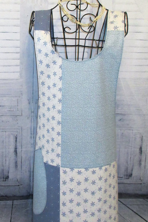 Light Blue and White Reversible Smock Apron w/Adjustable Crisscross Straps