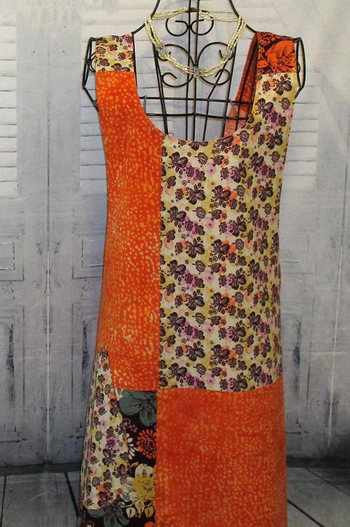 Orange and Burgundy Reversible Smock Apron w/Adjustable Crisscross Straps