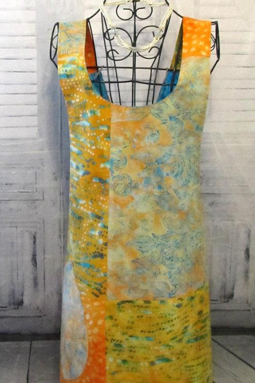 Orange, Turquoise & Yellow Reversible Smock Apron w/Adjustable Crisscross Straps