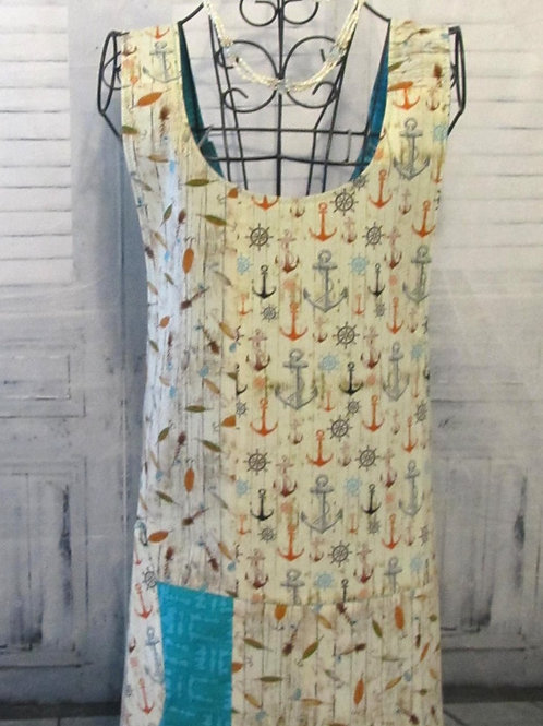Turquoise & Cream Anchors Reversible Smock Apron w/Adjustable Crisscross Straps