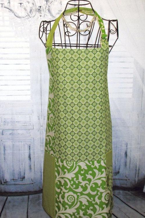 Lime Green Fabric Medley Reversible Bib Apron w/Adjustable Neck Strap