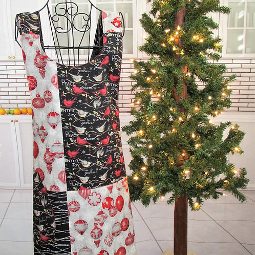 Black, Red & White Holiday Reversible Smock Apron w/Adjustable Crisscross Straps