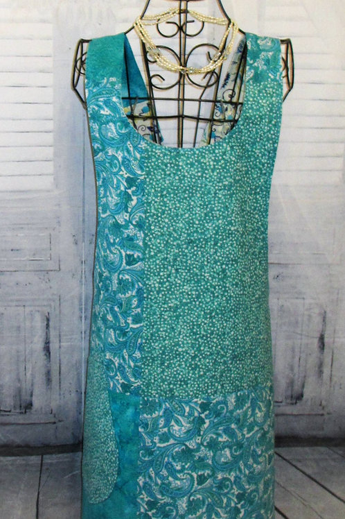 Teal and Turquoise Reversible Smock Apron w/Adjustable Crisscross Straps